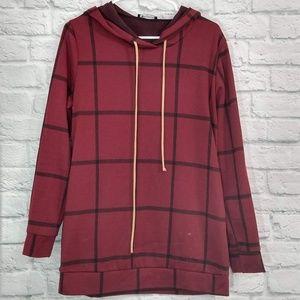 BomBom | Plaid Long Sleeve Hooded Tunic